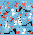 seamless bright pattern enamored dogs vector image vector image