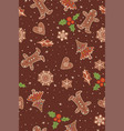 seamless pattern with gingerbread and berries vector image