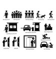 security guards icons stick figures depict