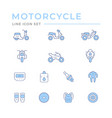set motorcycle related color line icons vector image vector image