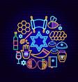 shana tova neon concept vector image vector image