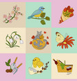 spring thin line colored icons vector image vector image