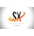 sx s x letter logo with fire flames design and vector image vector image