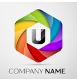 U Letter colorful logo in the hexagonal on grey vector image vector image