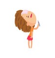unhappy sick girl standing with her head thrown vector image vector image
