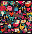 valentines day seamless background with sketches vector image vector image