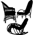 wicker chairs chairs silhouette isolated o vector image