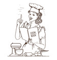 young woman chef in retro style cooking and vector image