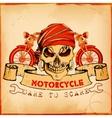 Skull on vintage motorcycle background vector image