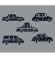 silhouette set taxi car side view vector image