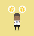 african businessman with bitcoin or dollar choice vector image vector image