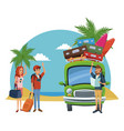 beach and friends cartoons vector image vector image