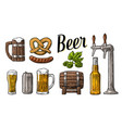 beer set with tap class can bottle barrel vector image vector image
