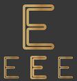 Bronze line e logo design set vector image vector image
