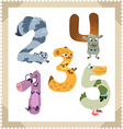 cartoon animals numbers set with white background vector image vector image