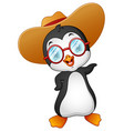 cartoon penguin in summer straw hat vector image vector image