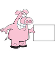 Cartoon Pig Holding a Sign vector image vector image