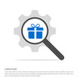christmas gift box icon search glass with gear vector image