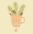 cup of happy merry christmas time vector image