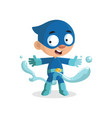 cute funny superhero boy character in a blue vector image