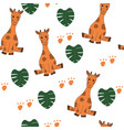 cute giraffes monstera leaves seamless vector image