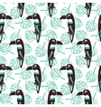 cute toucan and exotic leaves plant seamless vector image