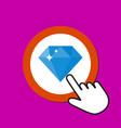 diamond icon gift treasure concept hand mouse vector image vector image