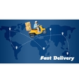 Fast delivery banner Boy riding yellow bike vector image vector image