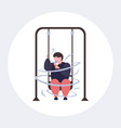 fat obese guy swinging and eating ice cream vector image vector image