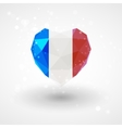 Flag of France in shape diamond glass heart vector image vector image
