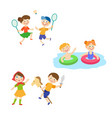 flat summer camp kids activity set vector image vector image