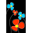Flowers on a black background vector image vector image
