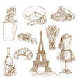 france hand drawn icon set vector image vector image