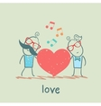girl and guy listening to the melody of the heart vector image vector image