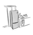 gray refrigerator in kitchen sketch vector image