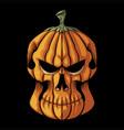 halloween pumpkin skull head vector image vector image