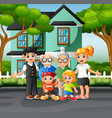 happy family members in front yard hous vector image vector image