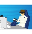 Happy guy is driving a car in virtual reality vector image