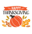 happy thanksgiving pumpkin and foliage banner with vector image