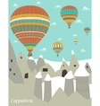 Hot air balloons in Cappadocia vector image