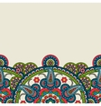 Indian paisley boho floral border vector image vector image