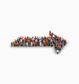 large group people in an arrow shape vector image vector image