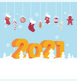 lovely new year 2021 greeting card poster or vector image