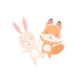 lovely white little bunny and fox cub happily vector image