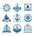 marine labels nautical logo sailing boats rope vector image