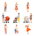 mothers and kids characters people in a different vector image