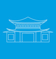 pagoda icon outline style vector image vector image