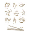 pasta set type of pasta hand draw sketch vector image vector image