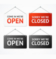 realistic 3d detailed open and closed signs set vector image vector image