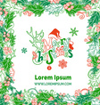 Red and green Merry Christmas frame vector image vector image